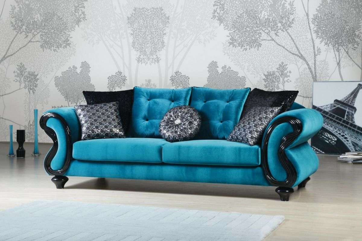 Blue Fabric Sofa