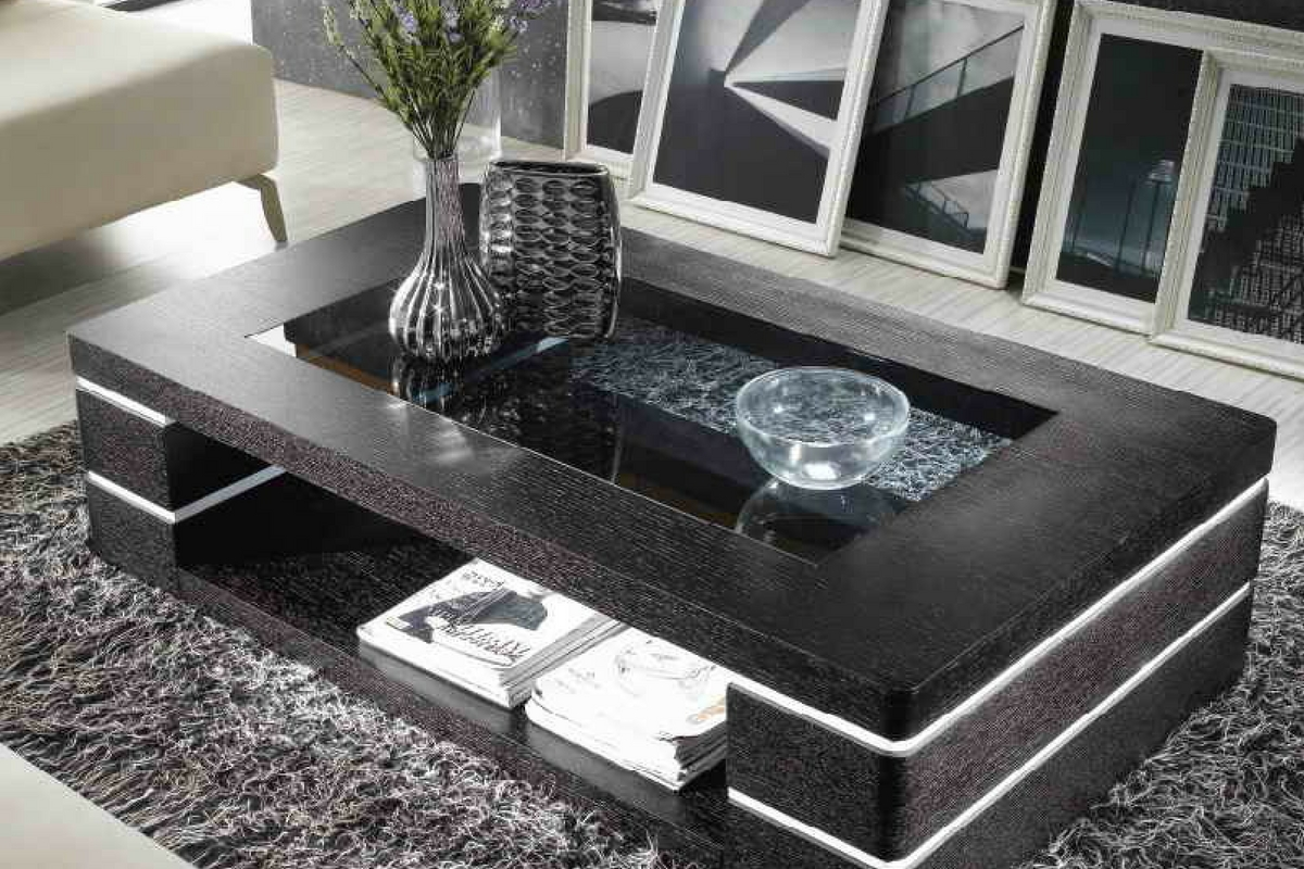 Glass center table design for living room for Drawing room table