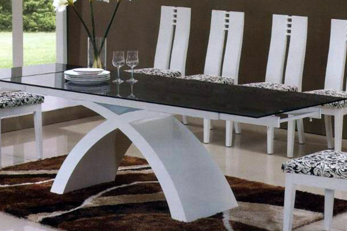 Buy Glass Dining Table And White Leather Chairs