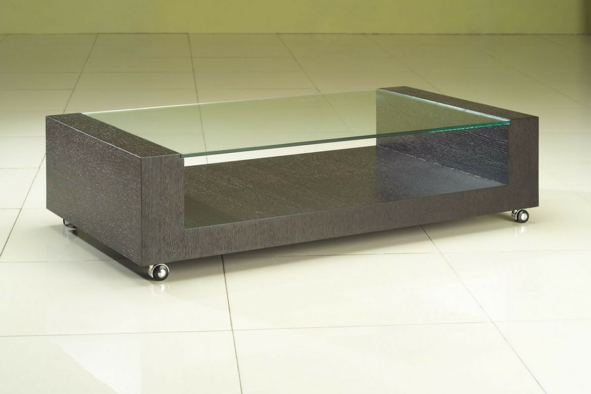 Buy Wooden Centre Table With Glass Top For