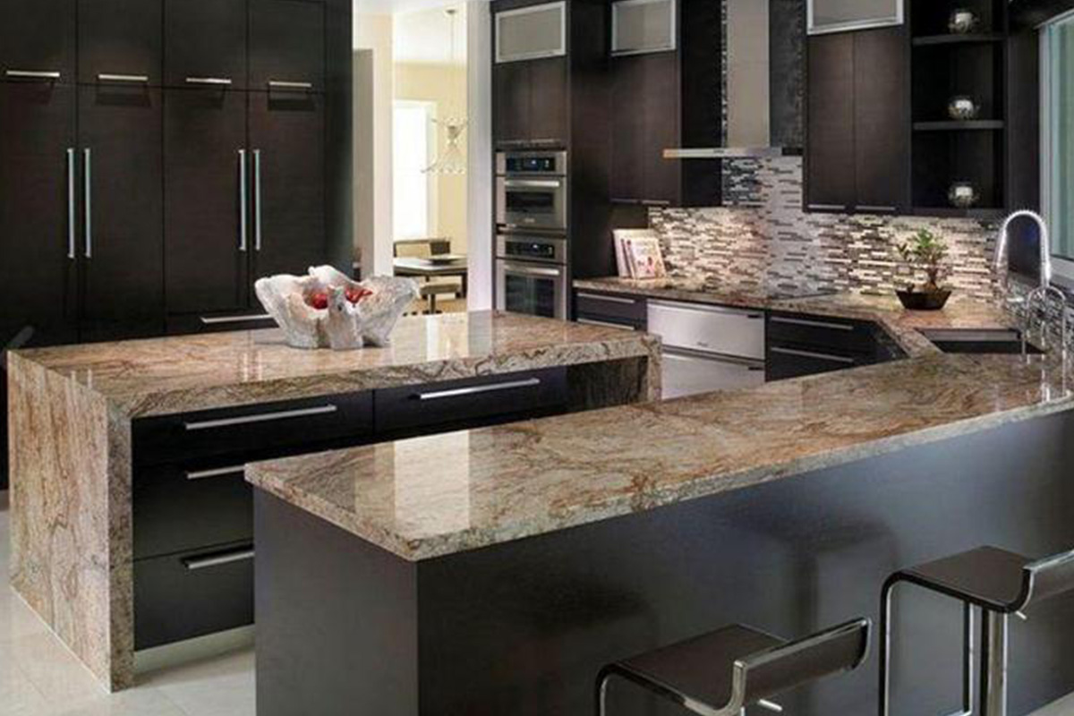 Buy Black Kitchen Cabinet With Granite Countertops In