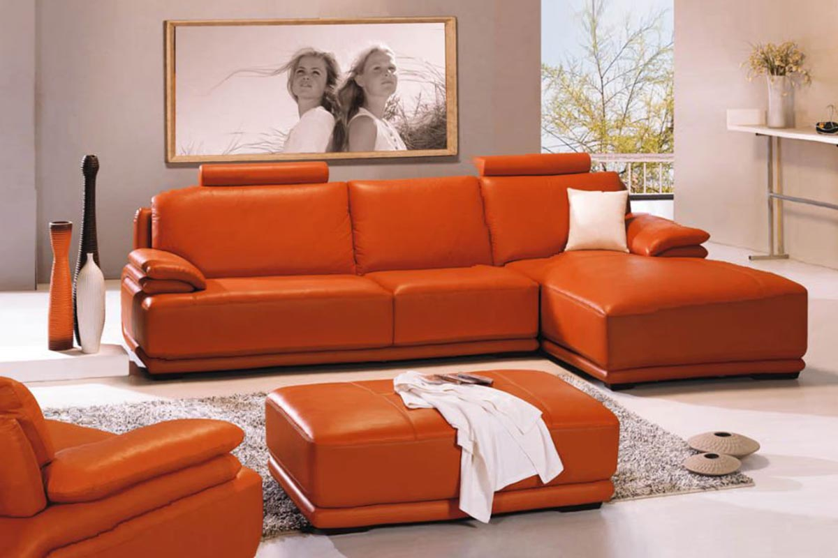 Buy Orange Leather Sofa Set In Lagos Nigeria